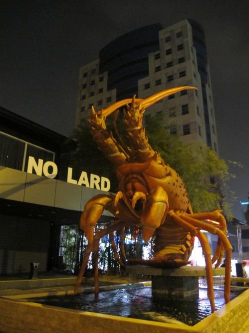 Arrived in Kuala Lumpur late at night. They have huge lobsters and definitely no lard.
