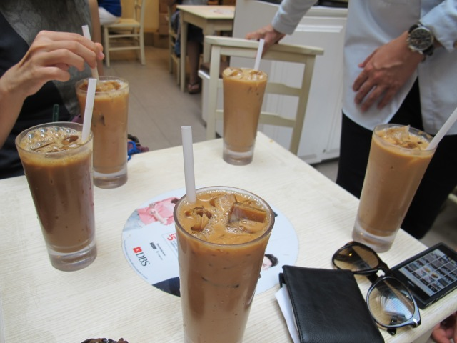 This  drink is called Yuan Yang and it is actually a mixture of coffee and tea. Tasty!
