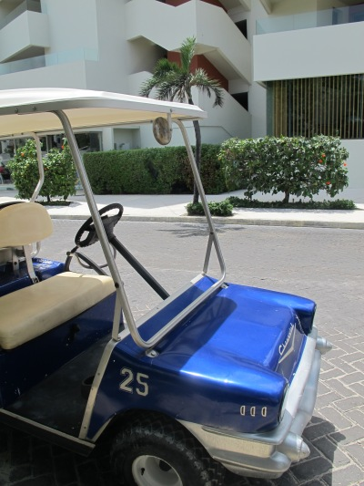 The best way to explore the island is by golf cart.